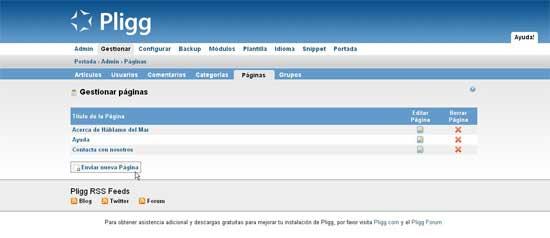 Pligg nueva página de contenido estático