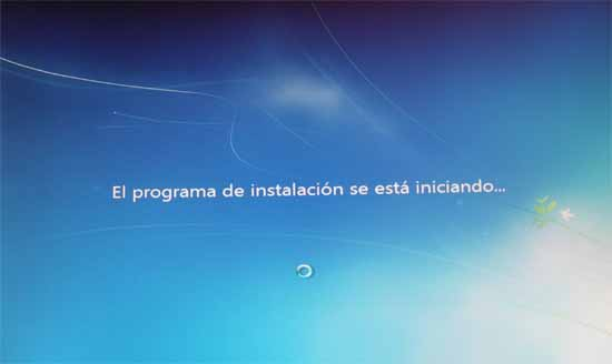 Windows 7, programa instalación iniciando