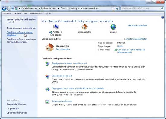 Windows 7, cambiar configuración adaptador