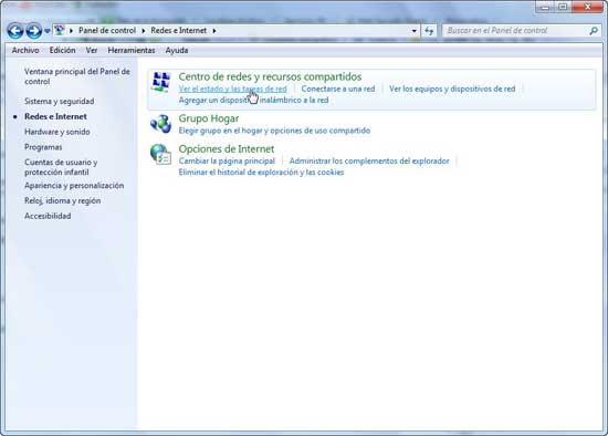 Windows 7 Estado y tareas de Red