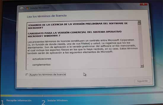 Windows 7 RC licencia
