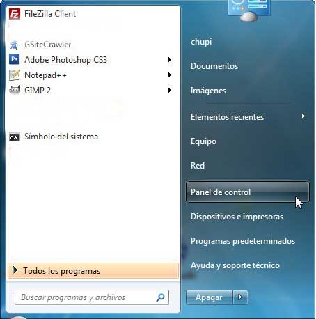 Windows 7 panel de control