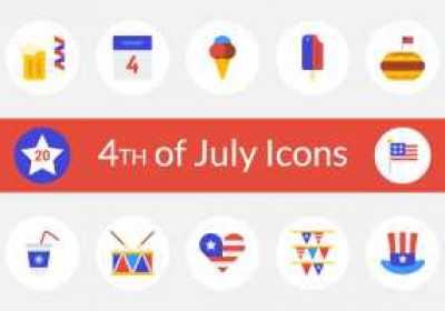 Conjunto de iconos gratis: feliz 4 de julio USA