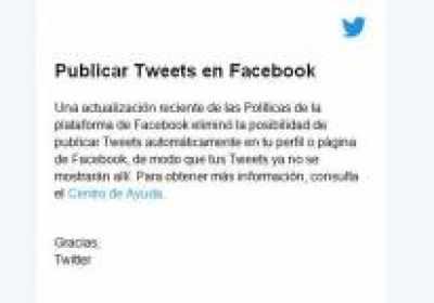 Ya no puedes publicar automáticamente tus tweets en Facebook